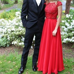 Red Beaded Off the Shoulder Sherri Hill Prom Dress